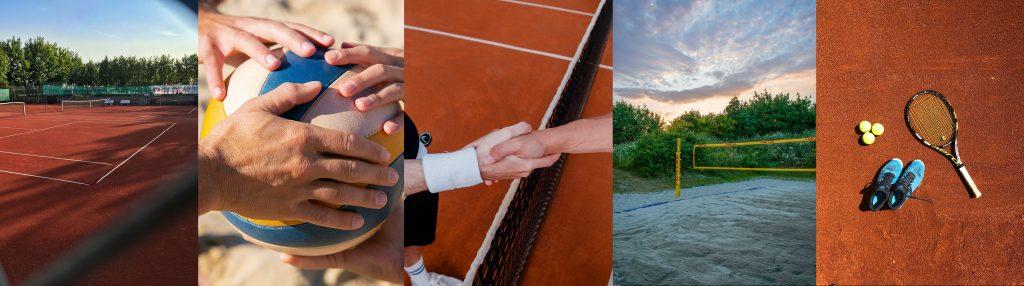 Mehrere Bilder zum Start mit Tennis oder Beach-Volleyball als Panorama. Tennisplatz, Beach-Volleyball, Handshake, Beachvolleyball und Tennisausrüstung.