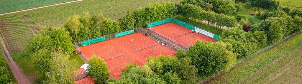 Luftansicht der Tennisanlage des Tennisclub Harxheim e. V.