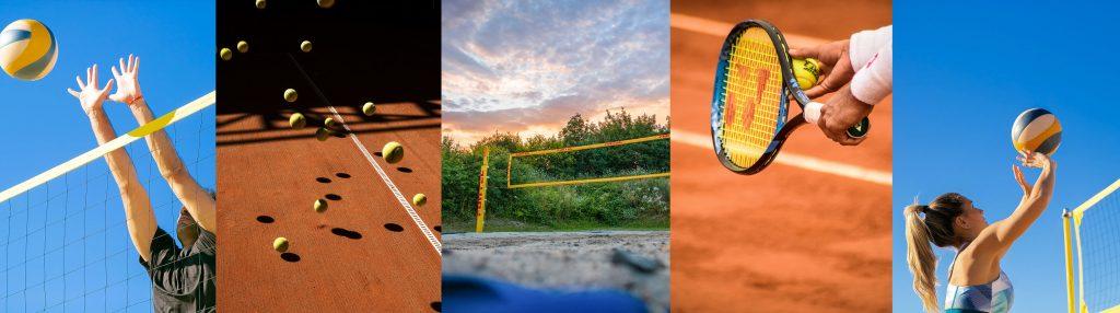 Mehrere Bilder als Panorama zu Beach-Volleyball und Tennis. Tennis oder Beach-Volleyball jetzt anfangen.